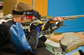 MUNICH - AUGUST 02: Bronze medalist Matthew EMMONS of the United States of America competes in the 50m Rifle Prone Men Final at the Munich Olympic Shooting Range during Day 3 of the 50th ISSF World Shooting Championship on AUGUST 02, 2010 in Munich, Germany. (Photo by Wolfgang Schreiber)